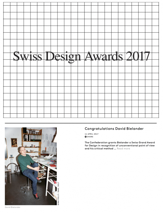 Swiss Grand Award for DAVID BIELANDER